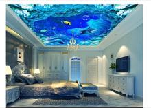 3D photo wallpaper custom 3d ceiling wallpaper murals Marine water lines Marine dolphins ceiling mural 3d sitting room wallpaper цены