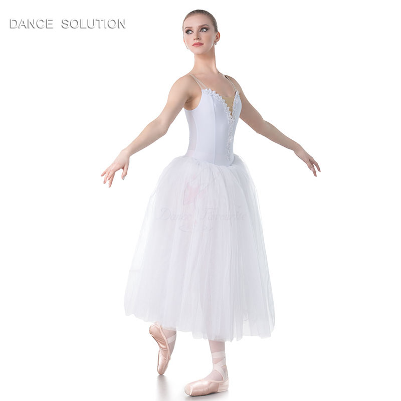 White Romantic Tutus Camisole Long Ballet Tutu for Child and Adult Performance Costume Ballerina Dress 11