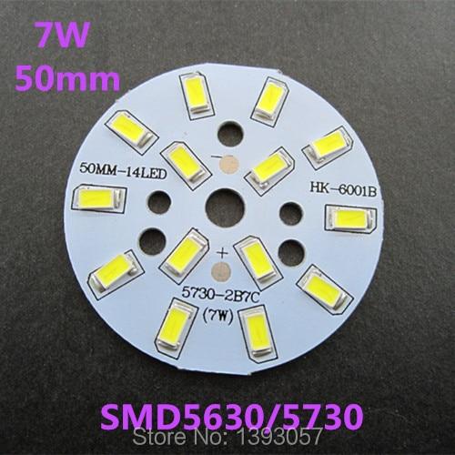 10 Pcs/lot 7W 50mm 5630/ 5730 SMD Super Brightness LED Lamp Panel Pre-soldered LEDs Aluminum Plate For Ceiling PCB