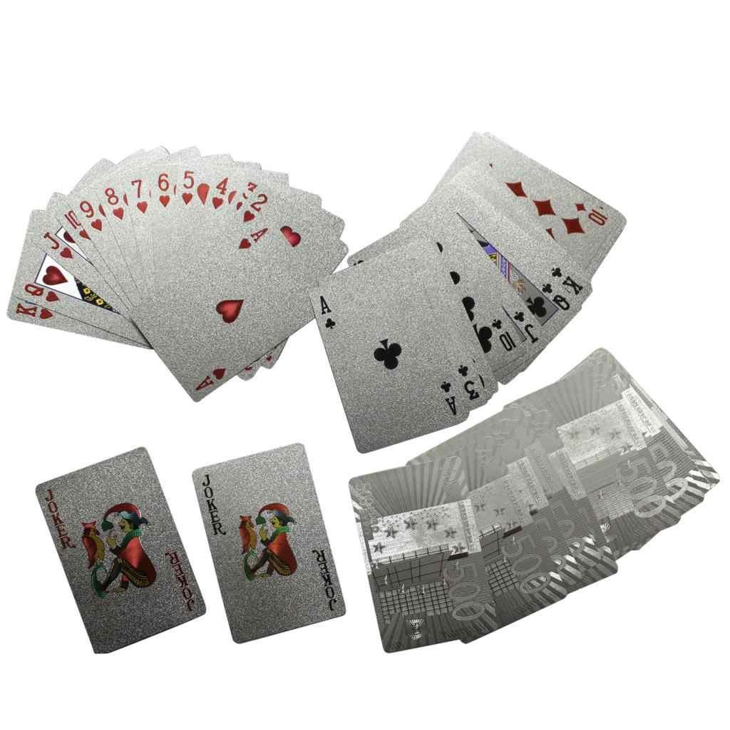 Un pont feuille d'argent Poker Euros Style plastique Poker cartes à jouer cartes imperméables bon prix jeu de société GYH