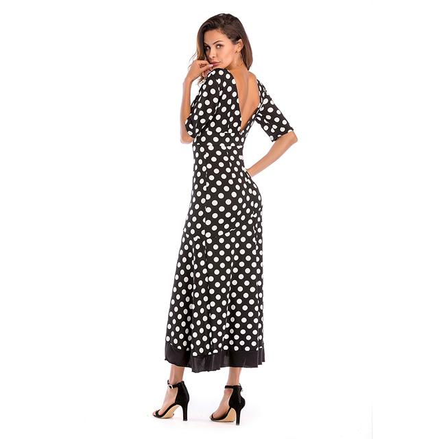 Autumn long sleeve polka dot ruffle wrap dress Women sexy v neck split maxi dress vestidos Summer beach long dress