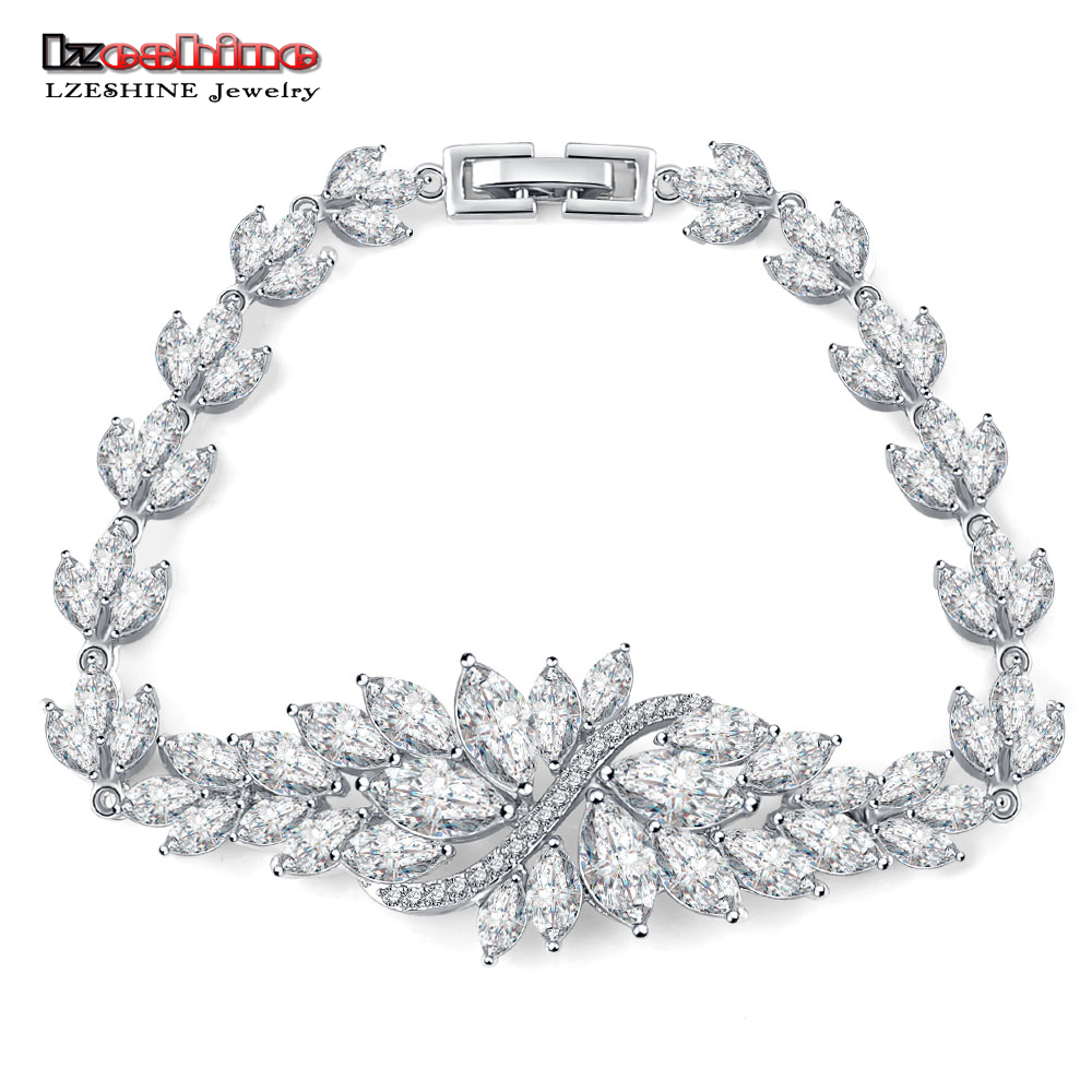 LZESHINE Brand 2016 New Design Leaf Bridal Bracelet Silver Color Clear AAA CZ Inlayed Fine Jewelry Bracelet CBR0006-B