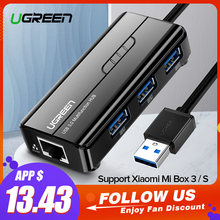 Ugreen Ethernet USB HUB USB 3.0 2.0 para RJ45 para Xiao mi mi Caixa 3/S Set-top caixa Ethernet Adapter Placa de Rede USB Lan(China)