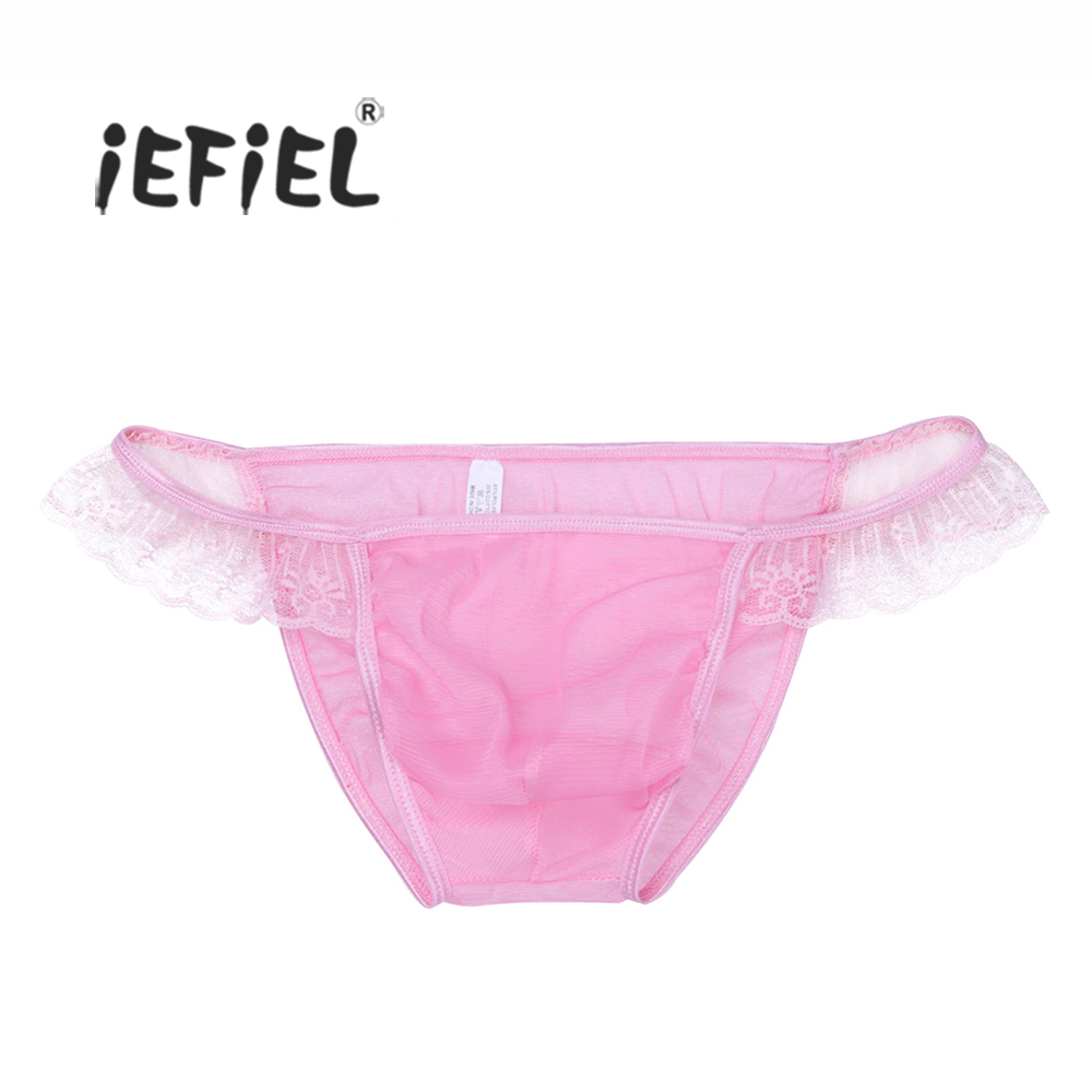 Buy iEFiEL Men Lingerie Mesh Ruffled Bikini Briefs Front Bulge Pouch Underwear Underpants Bulge Pouch Lace Panties Men's