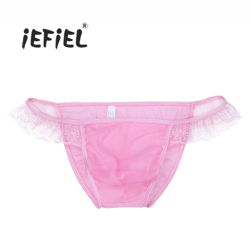 iEFiEL Men Lingerie Mesh Ruffled Bikini Briefs Front Bulge Pouch Underwear Underpants Bulge Pouch Lace Panties Men's