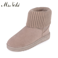 Ms Noki Women Winter Boots Platform Female Ankle Boots Fur Warm Snow Boots Ladies Flock Warm