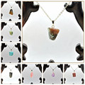 12pcs Charms Necklaces Pendants Nature Healing Crystals Gemstone Colgantes Mujer Moda Amber Men Jewerly Sieraden Kettingen Gift
