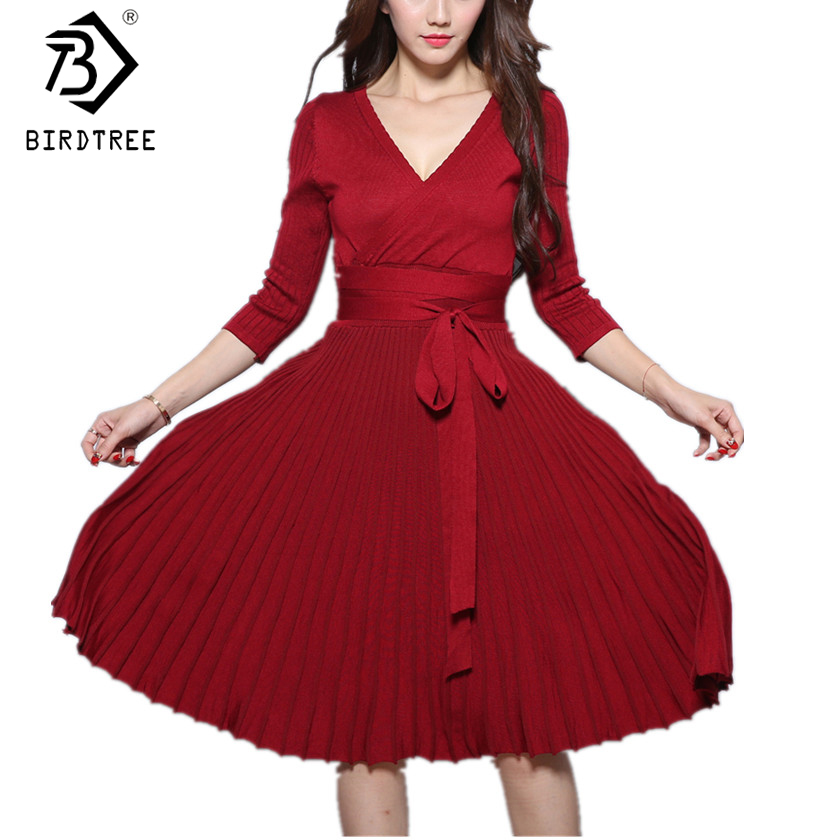 Autumn New Women Pleated Dress Three Quarter Sleeve Flare Hem Sexy Low-Cut V-Neck High Waist Knitted Dresses With Sashes D7N416A women s loose sexy casual v neck flare hem mini dress black m