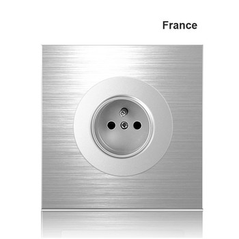 86 type 1 2 3 4 gang 1 2way Silver aluminum alloy panel Switch socket LED Northern Europe Industry German UK French light socket 9