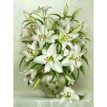 K027 Mosaic Pattern Full Drill Painting 5d Diamond Flowers Lily Round