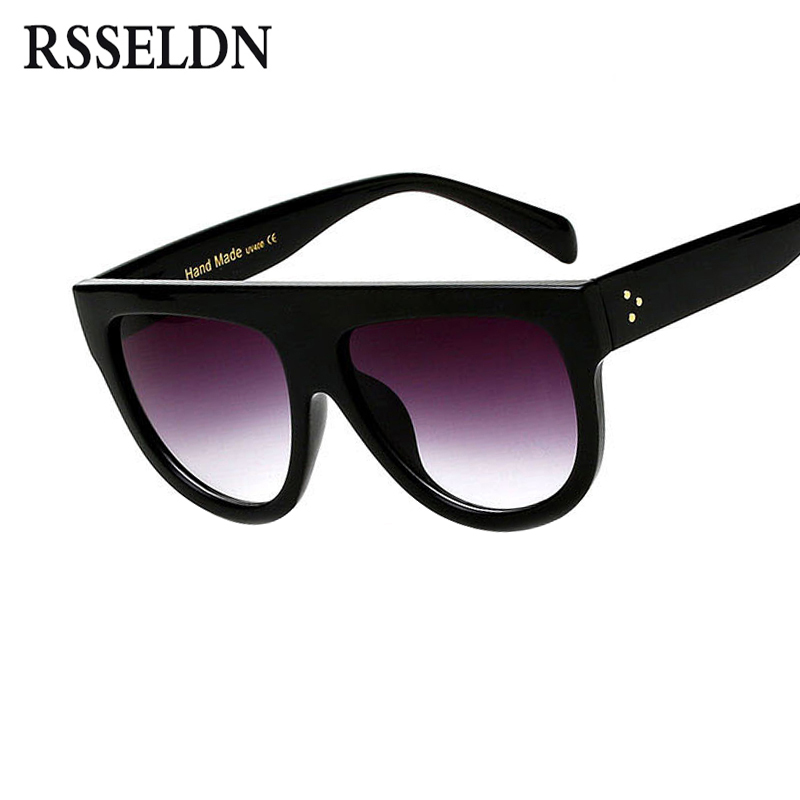 RSSELDN Flat Top Oversized Square Sunglasses Women Gradient 2018 Summer Style Classic Women Sun glasses Big Square Eyewear UV400 full rims oversized butterfly sunglasses