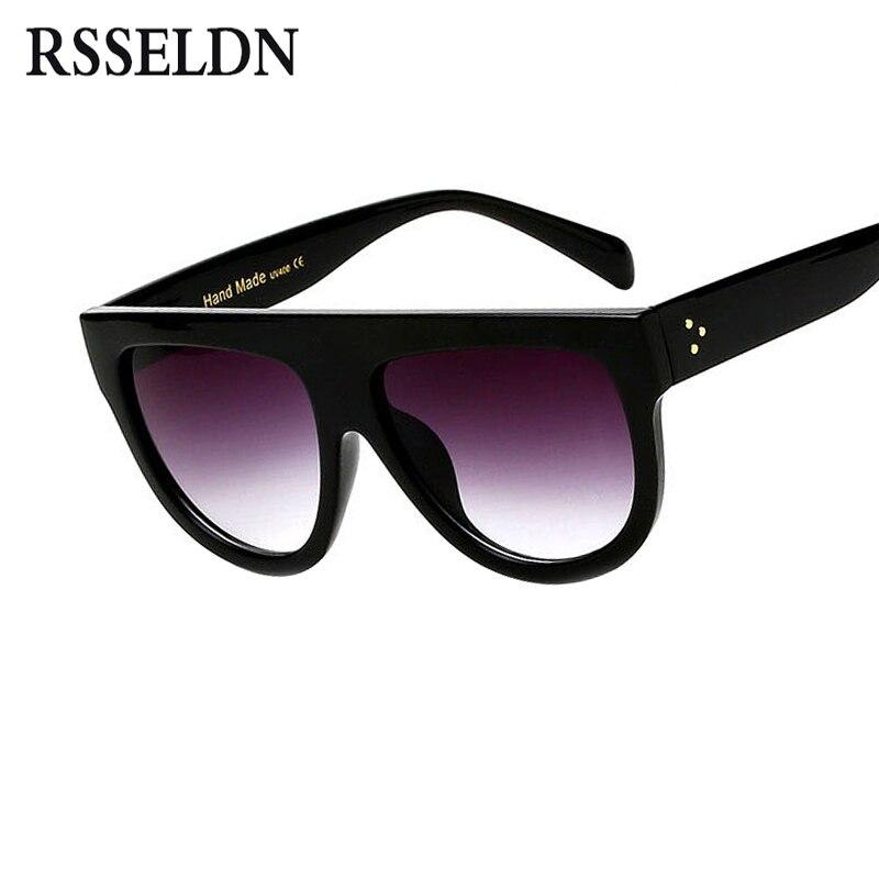 RSSELDN Flat Top Surdimensionné Carré lunettes de Soleil Femmes Gradient 2018 D'été Style Classique Femmes lunettes de Soleil Grande Place Lunettes UV400