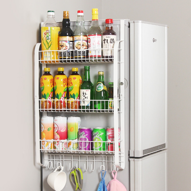 Flat iron rack side wall of large capacity refrigerator kitchen shelf storage rack