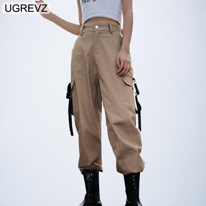 UGREVZ 2019 Plus Size Harajuku Cargo Pants Women Black High Waist Pantalon Bomber Femme Street Style Womens Joggers Sweatpants