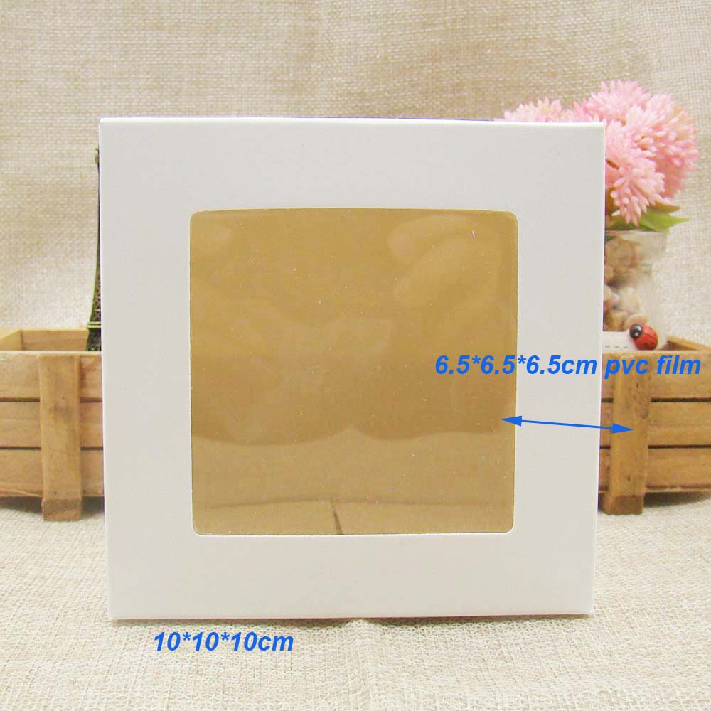 10 10 10cm White black kraft Window Box Packing Gift Boxes with pvc window for Candy Cake Soap Cookie Cupcake Display Box in Gift Bags Wrapping Supplies from Home Garden