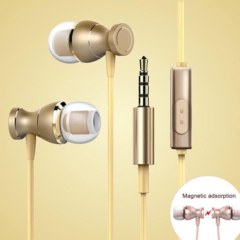 Metal Ear-in Earphones Magnetic Line Control with Mic Lightweight Universal Headphone XR649