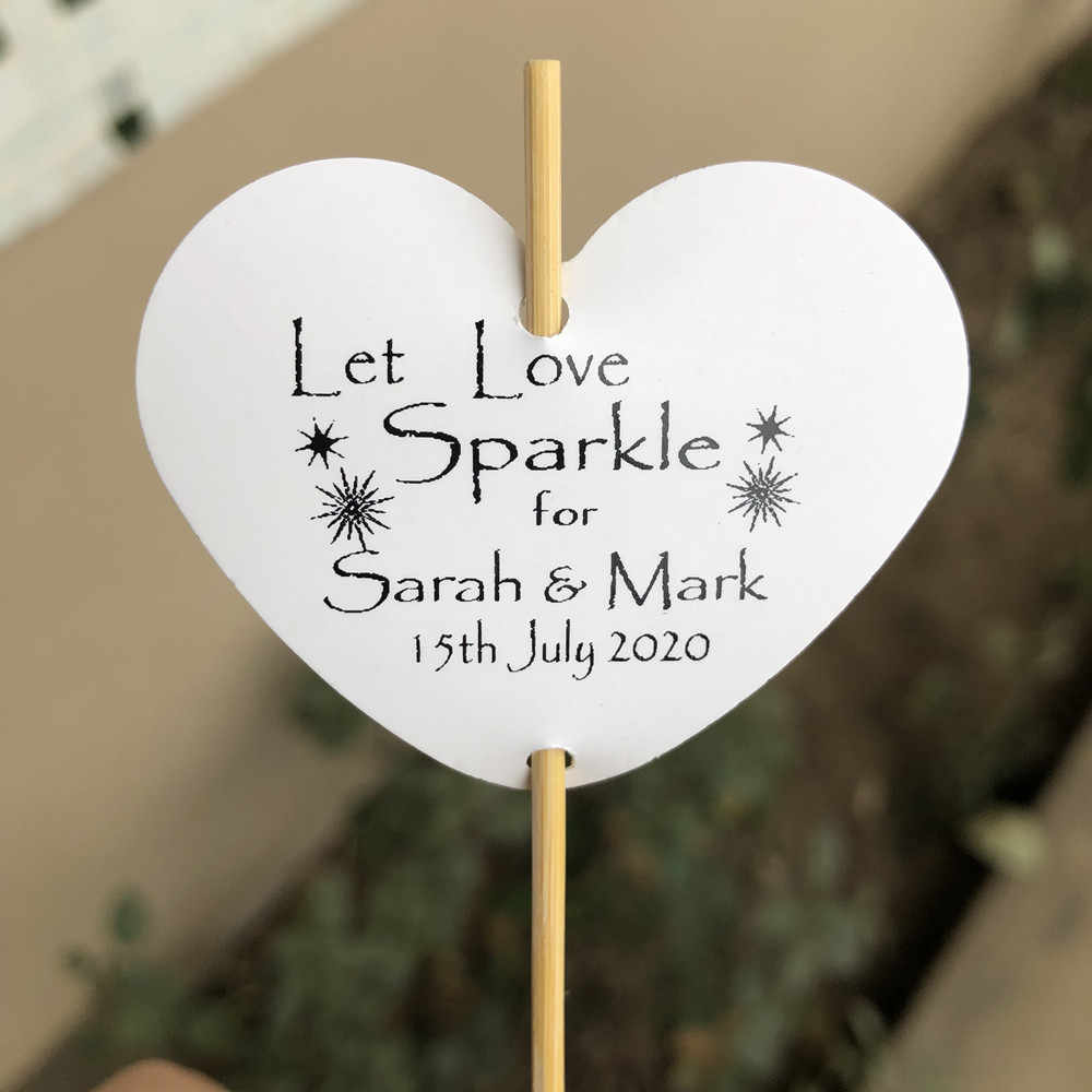 30 Personalised Heart Sparkler Tags Let Love Sparkle Wedding party funny decoration