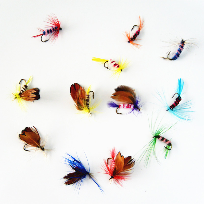 Anmuka 12pcs/set Various Dry Fly Fishing Trout Salmon Dry Flies Fish Hook Lures fishing fishing pesca