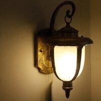 Traditionnelle E27 Extérieure LED Jardin Lumière Mur Lumière Extérieur Luminaire Bronze Lanterne En Verre LED Porche Lumière Lampe