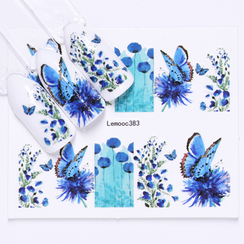 LEMOOC Water Decals Nail Transfer Stickers Flowers Butterfly Mixed Patterns Nail Art Decoration Stickers DIY Design in Stickers Decals from Beauty Health