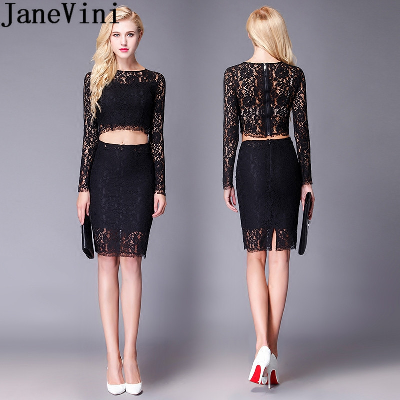 JaneVini Sexy Long Sleeve   Cocktail     Dresses   Black Lace Short Mini Robe   Cocktails   Courte 2 Pieces Plus Size Women Party Gowns 2019