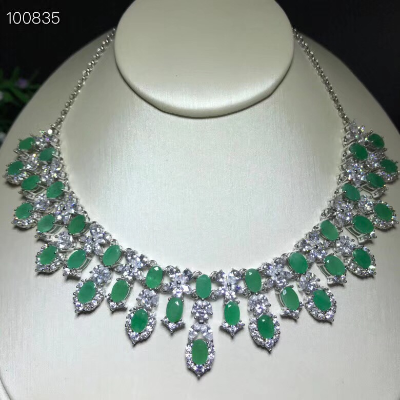 Uloveido Classic Green Emerald Statement Pendant Necklace Women 925 Sterling Silver Gemstone Necklace Pendant for Girl
