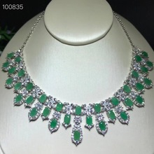 Uloveido Klassische Grün Smaragd Erklärung Anhänger Halskette Frauen 925 Sterling Silber Edelstein Halskette Anhänger für Mädchen FN353