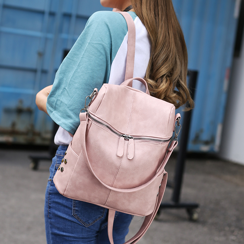 2019 Women Backpack High Quality Leather School Bags For Teenager Girls Big School Backpack Vintage Solid Lady Shoulder Bags