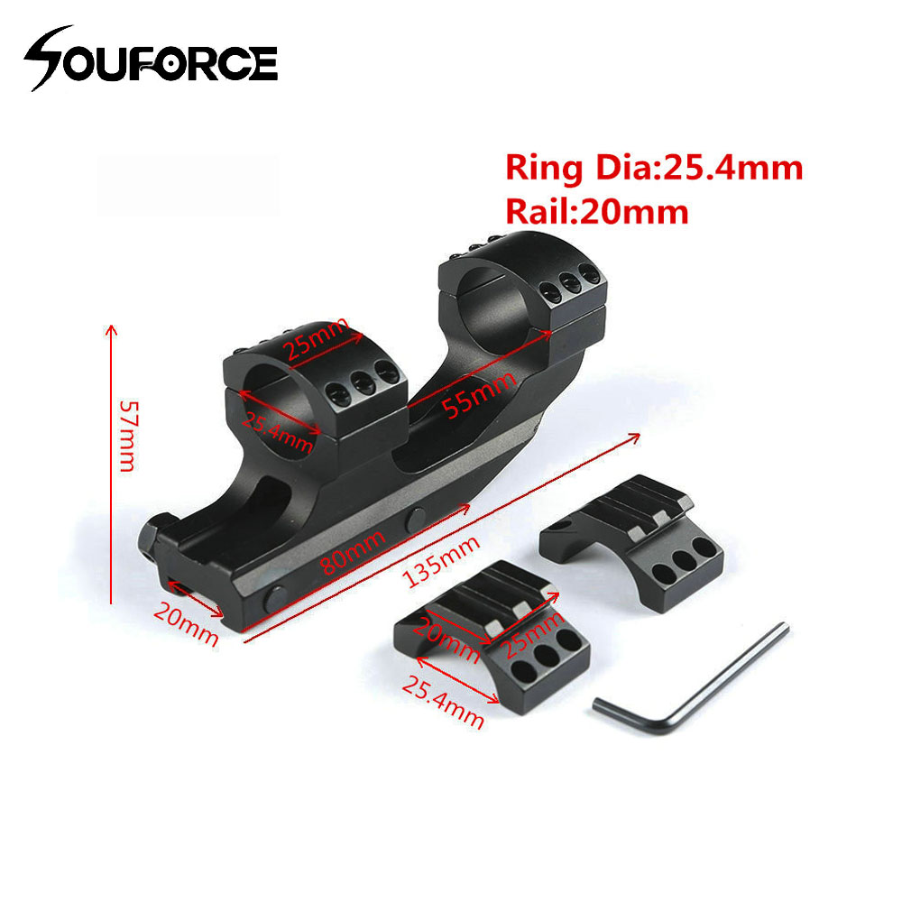 Tactical Optic Scope Mount 2 Screw 25.4 mm Rings Mount fit 20 mm Picatinny Rail Gun Accessory for Hunting 25mm gun rail mount 2 pack