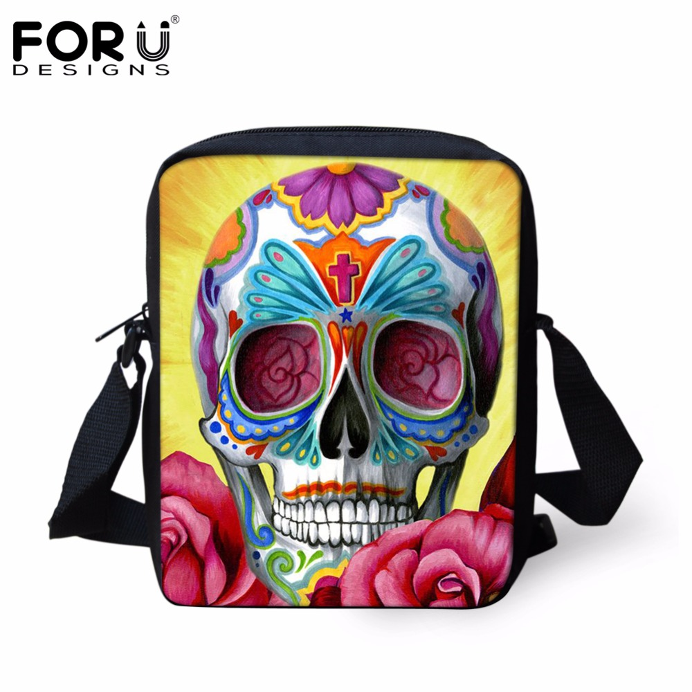 c8ddf71fc6 FORUDESIGNS Small Cartoon Women Cross Body Bags Cool Sugar Skull Pattern  Ladies Casual Mini Shoulder Bags Female Messenger Bags -in Shoulder Bags  from ...