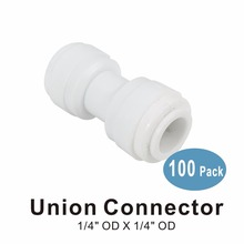 100 PACK OF Union Connector 1/4 x Quick Connect RO System and Water Filter Fittings