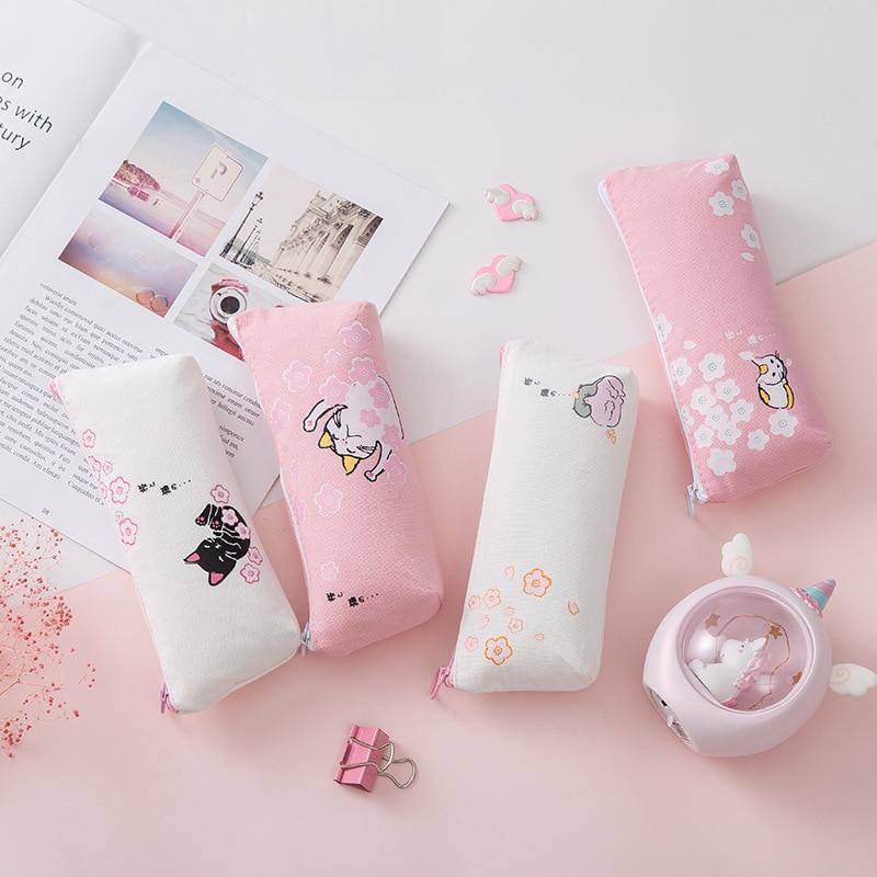 Kawaii Cat Pink Cherry Blossoms Sakura Pencil Case For Girl School Pencil Box Pencilcase Pencil Bag Supplies Students Stationery
