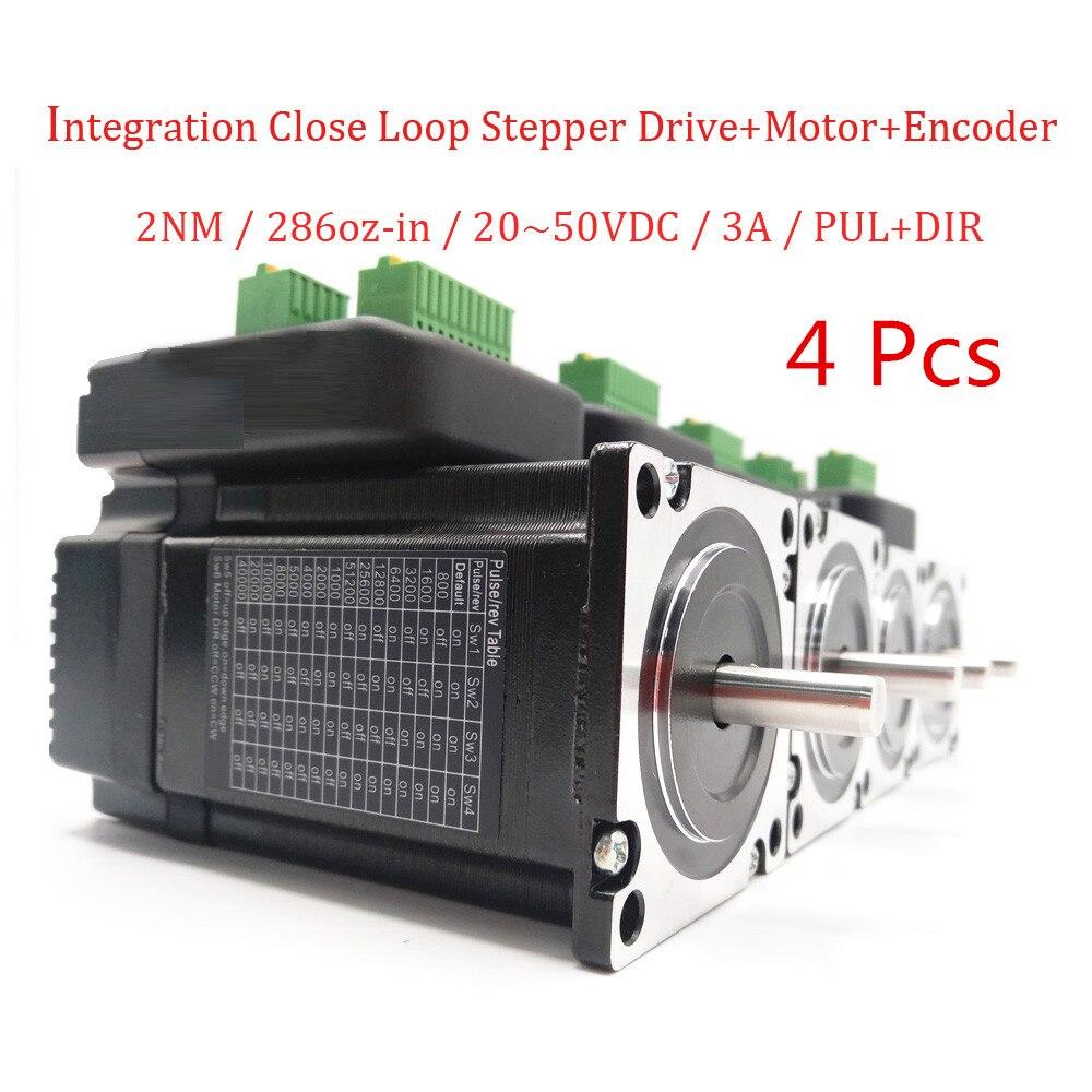 4 pz NEMA23 20-50VDC 2N. m 286oz-in High Torque Integrato in Anello Chiuso Stepper Drive + Motore per Elettronica Apparecchiature Per Il Trattamento