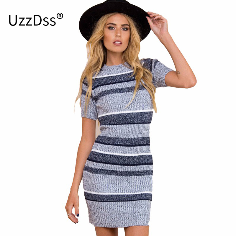 UZZDSS Women Autumn Winter Sexy Dress Short Sleeve Party Skinny Knitted Striped Warm Sweaters Dresses Casual Women Clothing