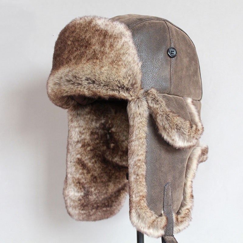 Russian Ushanka Hat Bomber-Hats Trapper-Cap Earflap Winter Warm with Fur Men