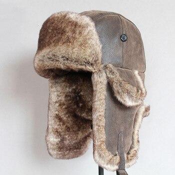 Cazadora Bomber sombreros de invierno caliente de los hombres ruso Ushanka  sombrero con orejeras de cuero de la Pu de trampero de piel tapa gorrita  tejida 095ea6cccb6