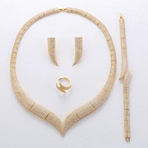 Image 4 - Jewelry Set HADIYANA Vintage Women Wedding Fashion Party Necklace Bracelet Earrings And Ring Set Zircon TZ8029 Conjunto de joyas