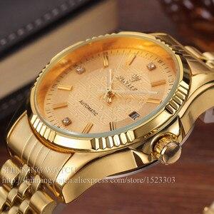 Image 2 - 럭셔리 골드 패션 남성 시계 캐주얼 크리스탈 다이얼 날짜 자동 기계 스테인레스 스틸 스포츠 손목 시계 남성 선물 용품