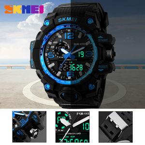 Skmei мужские часы с большим циферблатом, цифровые светодиодные водонепроницаемые часы 50 м, армейские уличные спортивные часы с будильником, наручные часы 1155