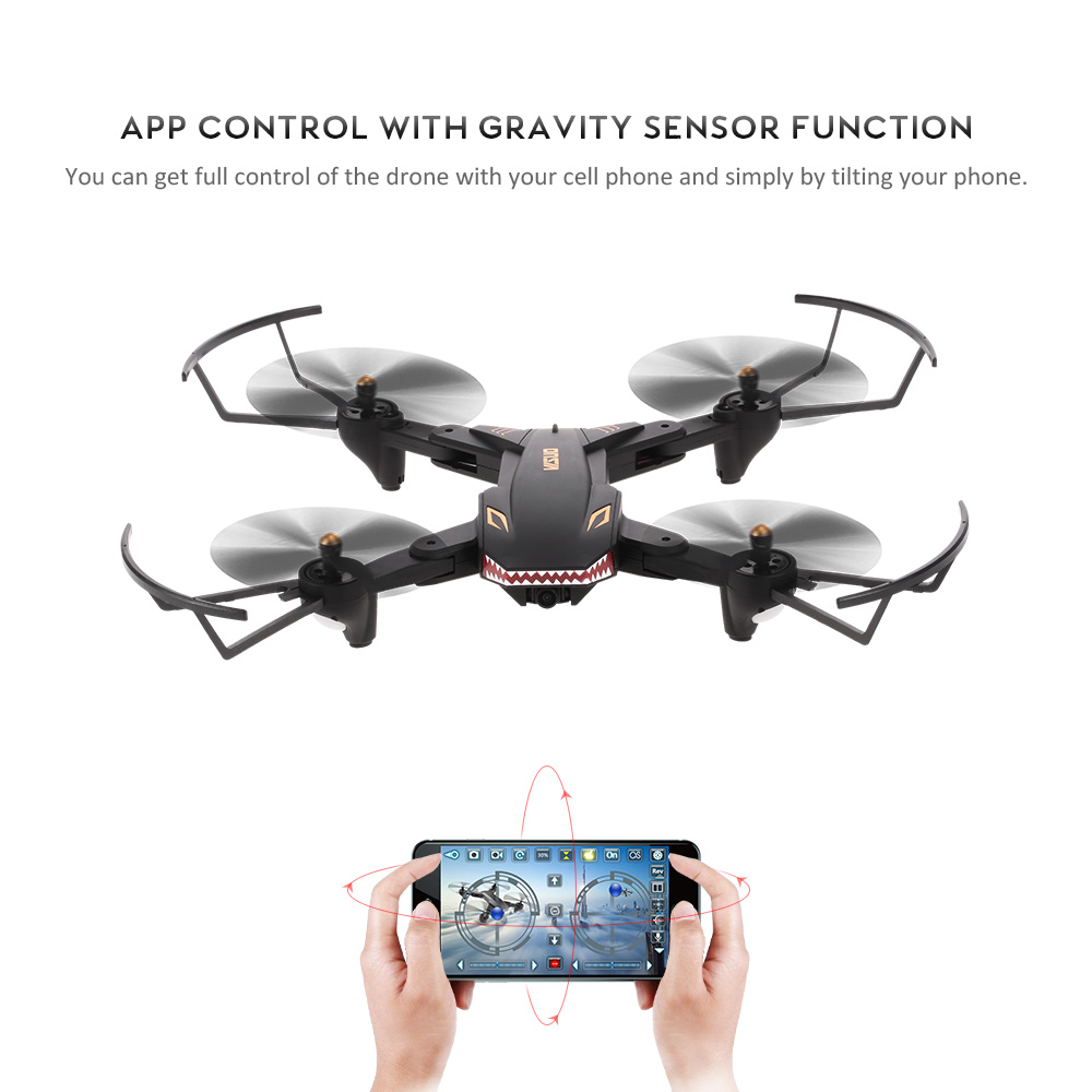 VISUO XS809S 0.3MP Camera Drone Wifi FPV Foldable Selfie RC Drone Altitude Hold G-sensor Quadcopter with Extra Battery Dron