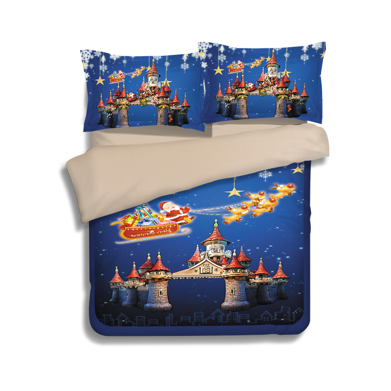 Merry Christmas bed linen 3/4 pcs santa claus printed duvet cover king queen twin size child home textile adult castle gift