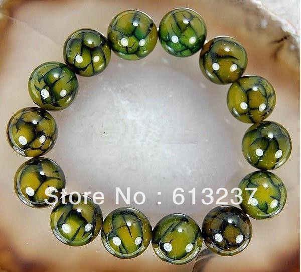 Livraison gratuite chaude nouveau Style de mode bricolage 10mm Dragon veines cornaline agat pierre onyx Bracelet Bracelet 7.5 ''my5339