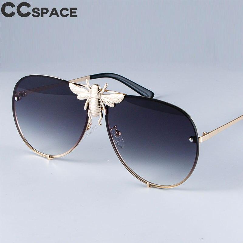 Солнцезащитные очки-авиаторы UV400 для мужчин и женщин, Роскошные Металлические градиентные очки в стиле ретро, с большими пчелами, 47850