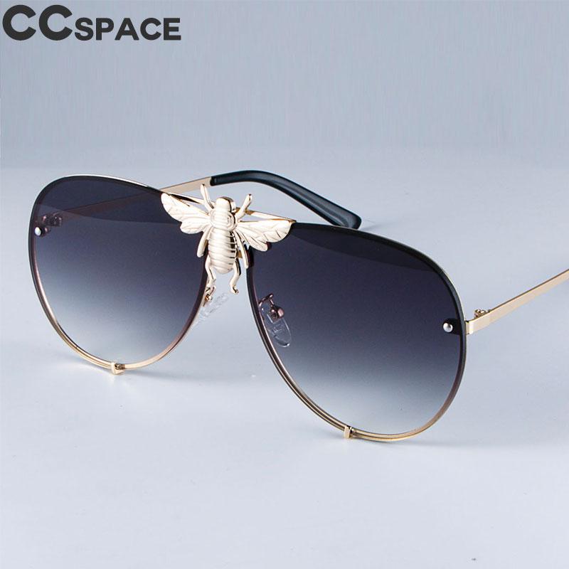 Роскошный металлический большой пчелы солнцезащитные очки авиаторы градиентные линзы UV400 в ретро стиле для мужчин и женщин, оттенки 47850