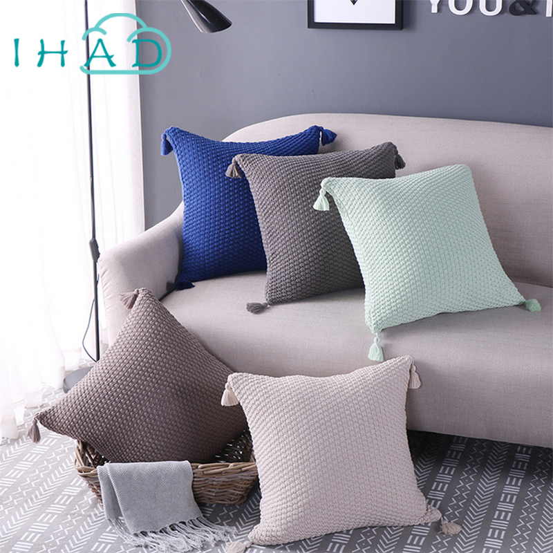 Square solid color knitting tassel cushion soft fabric can used in car bedroom sleep chi ...