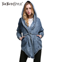 TWOTWINSTYLE 2017 Spring Women Hoodies Basic Coat Denim Jackets Long Sleeves Lace Up Jeans Windbreaker Cardigan
