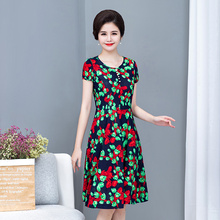 S-5XL 2019 new women style Loose clothes Comfortable Cotton Print Round Neck Short Sleeve Plus Size 5XL Beach long Dress NEW
