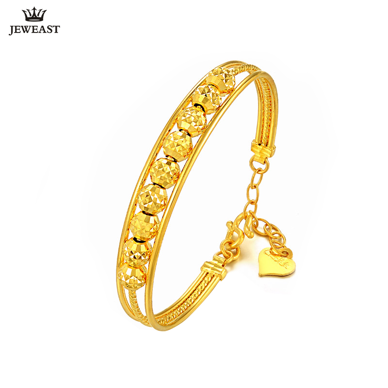 24K Pure Gold Bracelet Real 999 Solid Gold Bangle Simple Fashion Beautiful Bead Trendy Classic Party Jewelry Hot Sell New 2018 bead simple