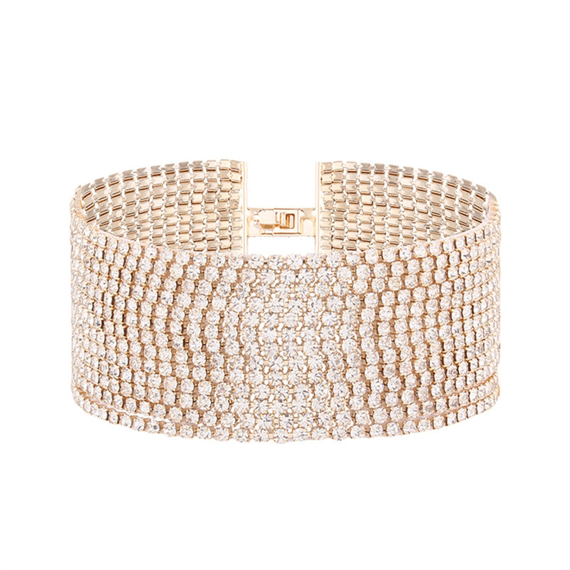 Europe HOT Golden Silvery Female Rhinestone Multilayer Bracelet Women Boho Wristband Wide Bracelet Mom Fashion Jewelry