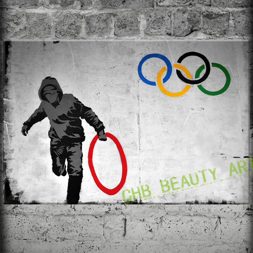 Banksy Art Cincin Olimpiade Kanvas Lukisan Gambar Dinding